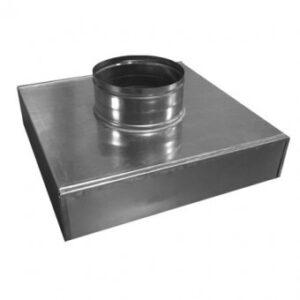 Plenum izolat 6 mm 300×300 mm inaltime 100 mm racord 160 mm tabla zincata 0.5mm