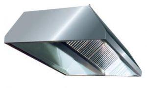 Hota centru 1100×1100 mm inaltime 300 mm cu filtre tabla inox luciu 1 mm